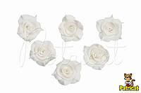 Цветы Розы Белые из фоамирана (латекса) 3 см 10 шт/уп