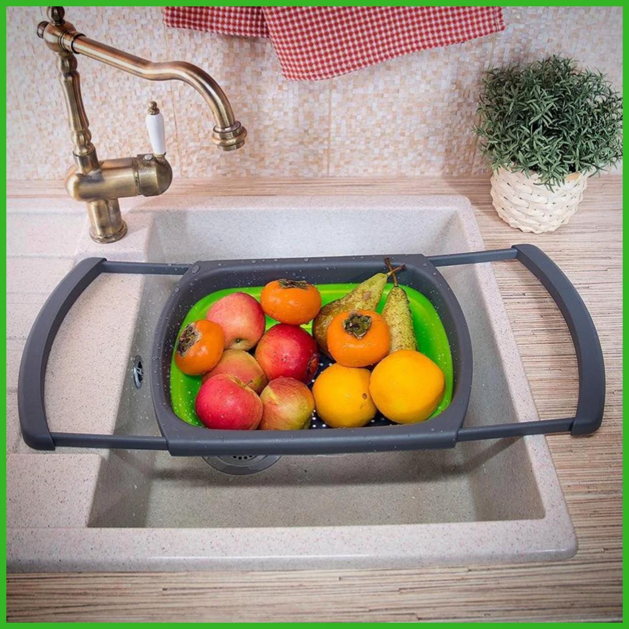 Универсальный большой кухонный силиконовый складной дуршлаг с ручками  Leach basket (W80) Ситечко для кухни