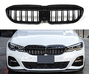 Решетка радиатора BMW G20 ноздри (2019+) стиль M3 (черный глянц)