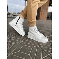 Жіночі високі чоботи білі кеди