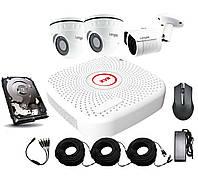 Универсальный комплект AHD видеонаблюдения Longse 2M1N2V c 3 камерами 2 Мп + HDD 500Гб, КОД: 146787