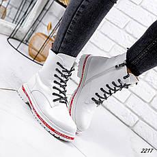 Ботинки женские белые, зимние из эко кожи. Черевики жіночі теплі білі з еко шкіри, фото 3