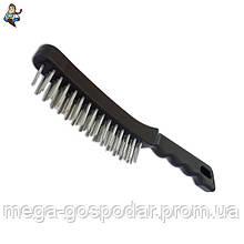 Щетка 4-ти рядная металлическая с пластиковой ручкой, 280мм