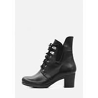 Женские классические черные кожаные ботинки на каблуке
