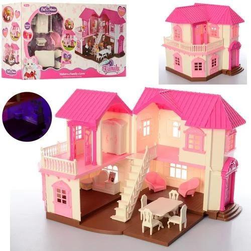 """Кукольный домик """"Happy Family"""" 1805 с мебелью и подсветкой"""