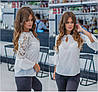 Р 42-46 Ошатна шифонова блуза з гіпюром 22532