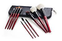 Набор натуральных кистей 10 pc Deluxe Makeup Brush Set - Red BH Cosmetics Оригинал