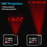 Часы с проектором DS-8190 настольные-постоянной проекцией времени на потолок метеостанция проекционные, фото 6