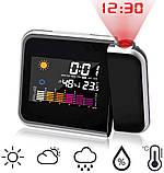 Часы с проектором DS-8190 настольные-постоянной проекцией времени на потолок метеостанция проекционные, фото 2