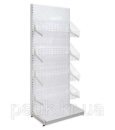 Стеллаж с сетчатыми корзинами 1900х950 мм, приставной торговый стеллаж  Ристел