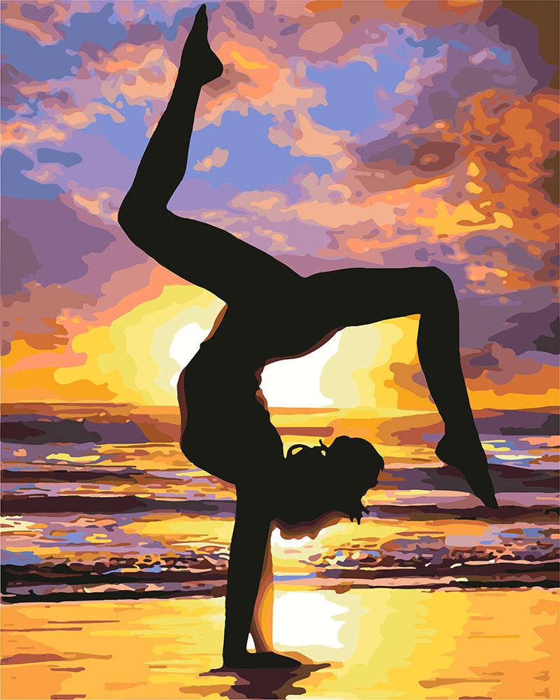 Рисование по номерам Йога на закате KHO4749 Идейка 40 х 50 см (без коробки)