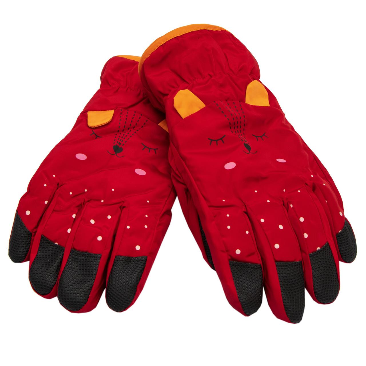 Водовідштовхуючі  дитячі лижні рукавички, розмір 14, червоний, плащівка, фліс, синтепон (516970)