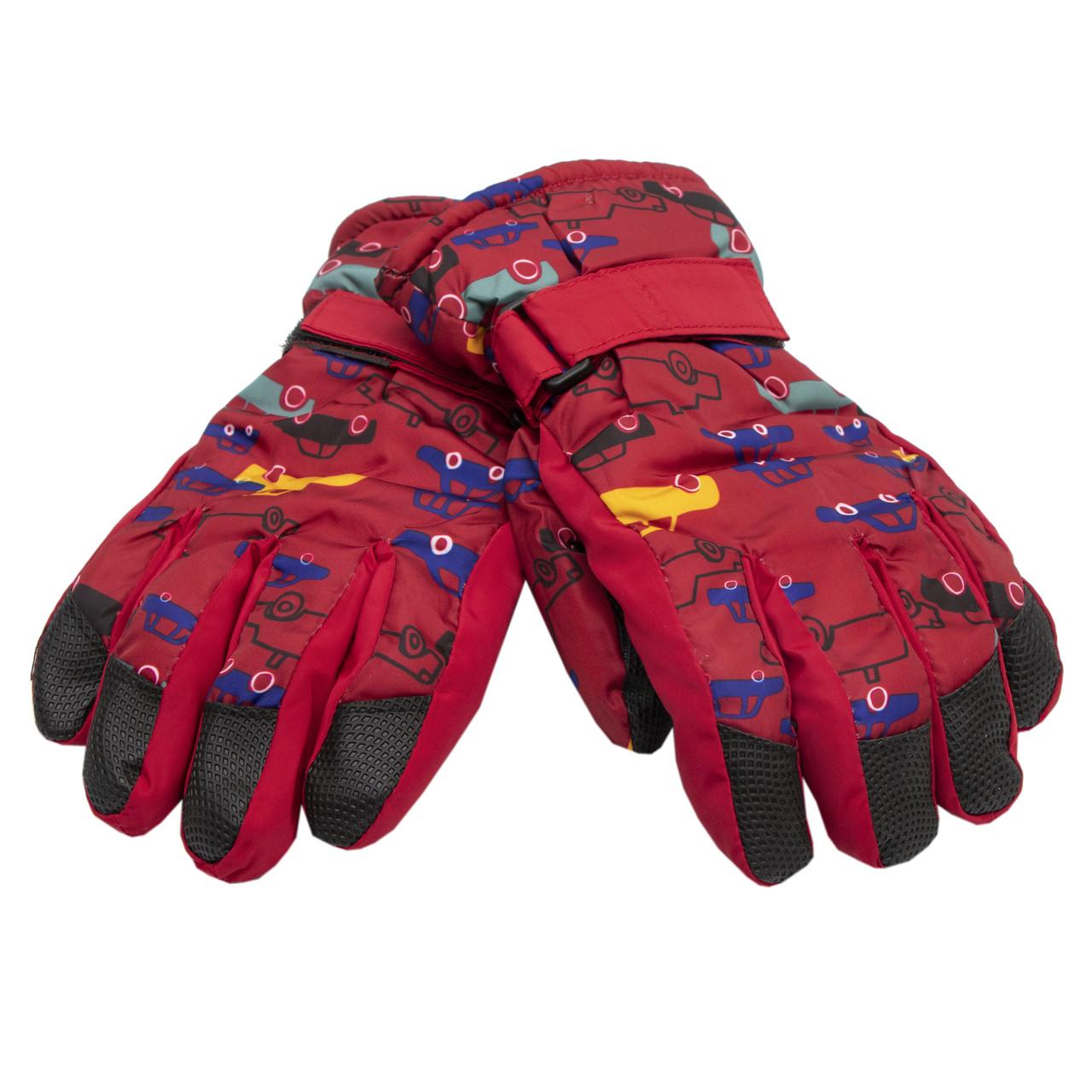 Водовідштовхуючі  дитячі лижні рукавички, розмір 14, червоний, плащівка, фліс, синтепон (516987)