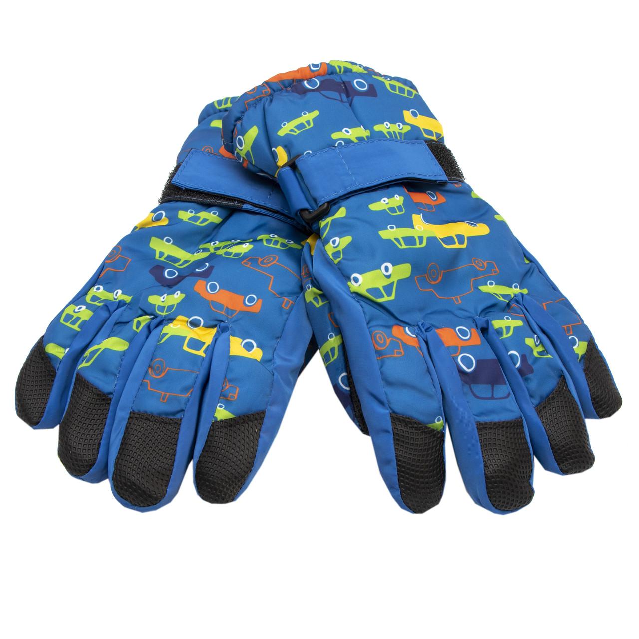 Водоотталкивающие детские лыжные перчатки, размер 14, синий, плащевка, флис, синтепон (517007)