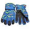Водоотталкивающие детские лыжные перчатки, размер 14, синий, плащевка, флис, синтепон (517007), фото 2