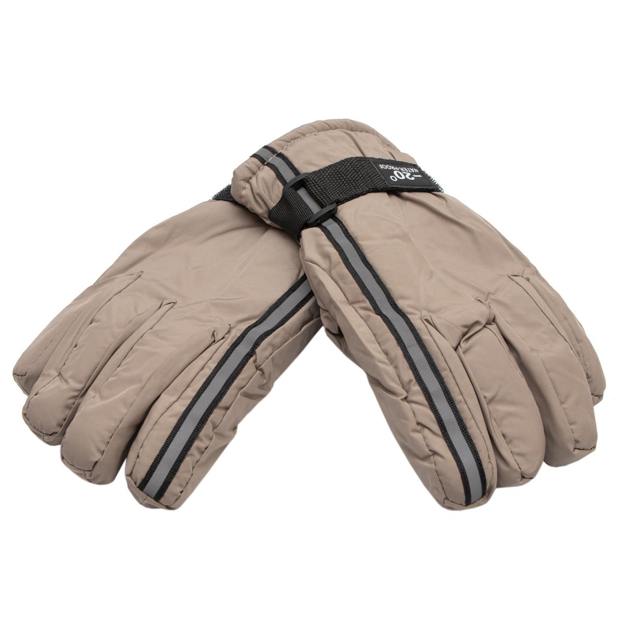 Водоотталкивающие детские (подростковые) лыжные перчатки, размер 15, бежевый, плащевка, флис, синтепон(517021)