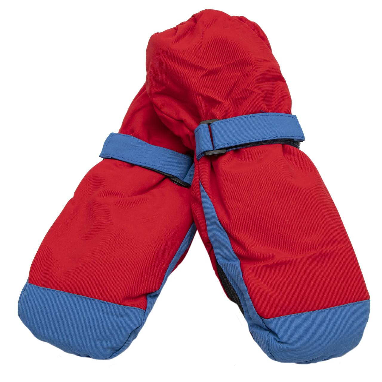 Водовідштовхуючі дитячі лижні рукавиці, розмір 13, червоний, плащівка, фліс, синтепон (517137)