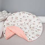 Детский коврик игровой двухсторонний хлопковый, ковер игровой мат в детскую, диаметр 95 см, фото 5
