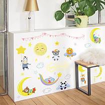 """Виниловые наклейки на стену, шкаф в детскую """"Зверята спят на луне"""" 80см*60см (лист 50*70см), фото 2"""