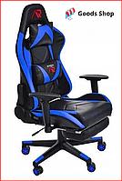 Кресло геймерское Jumi Aragon c подставкой для ног игровое компьютерное офисное раскладное мягкое синее