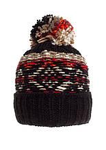 Практичная теплая вязаная женская шапка с бумбоном, черная, Польша.