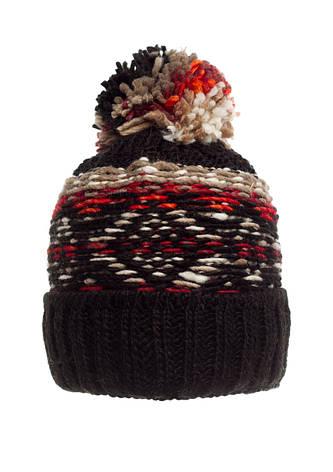 Практичная теплая вязаная женская шапка с бумбоном, черная, Польша., фото 2