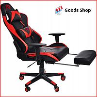 Кресло геймерское Jumi Aragon c подставкой для ног игровое компьютерное офисное раскладное мягкое красное