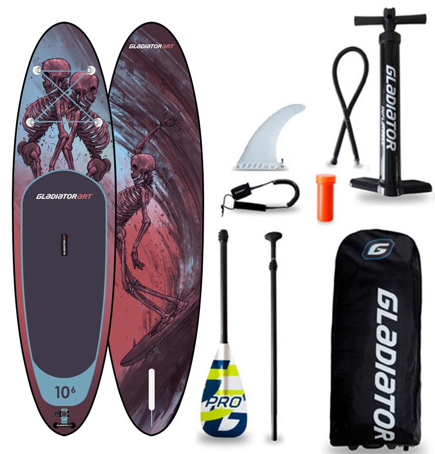 "Сапборд Gladiator ART 10'6"" x 32"" RIDE 2021 - надувная доска для САП серфинга, sup board"