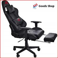 Кресло геймерское Jumi Aragon c подставкой для ног игровое компьютерное офисное раскладное мягкое черное