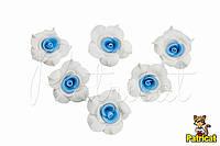 Цветы Розы Бело-голубые из фоамирана (латекса) 2 см