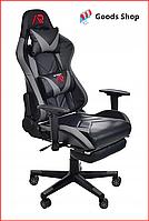 Кресло геймерское Jumi Aragon c подставкой для ног игровое компьютерное офисное раскладное мягкое серое