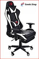 Кресло геймерское Jumi Aragon c подставкой для ног игровое компьютерное офисное раскладное мягкое белое