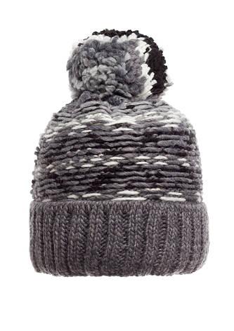 Красивая зимняя вязаная женская шапка, серая, Польша., фото 2