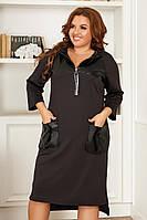 Жіноче плаття,тканина: дайвінг+еко шкіра, високої якості, з довгим рукавом, спортивне(48-58), фото 1
