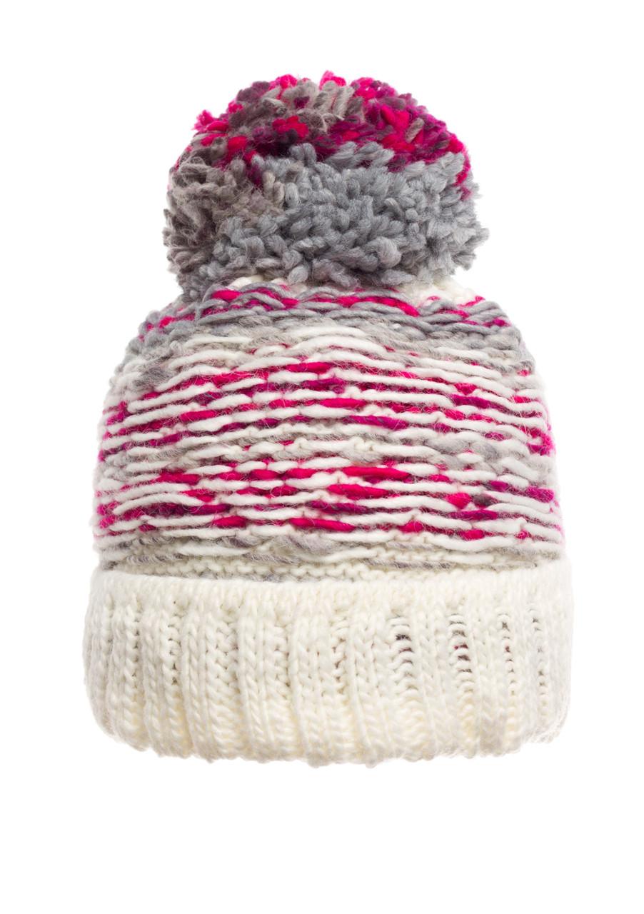 Оригинальная красивая теплая вязаная женская шапка, молочная, Польша.
