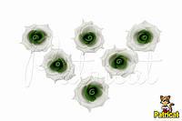 Цветы Розы Бело-зеленые из фоамирана (латекса) 3 см 10 шт/уп