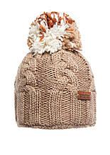 Красивая теплая вязаная женская шапка, бежевая.