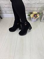 Ботинки кожаные на каблуке, фото 1