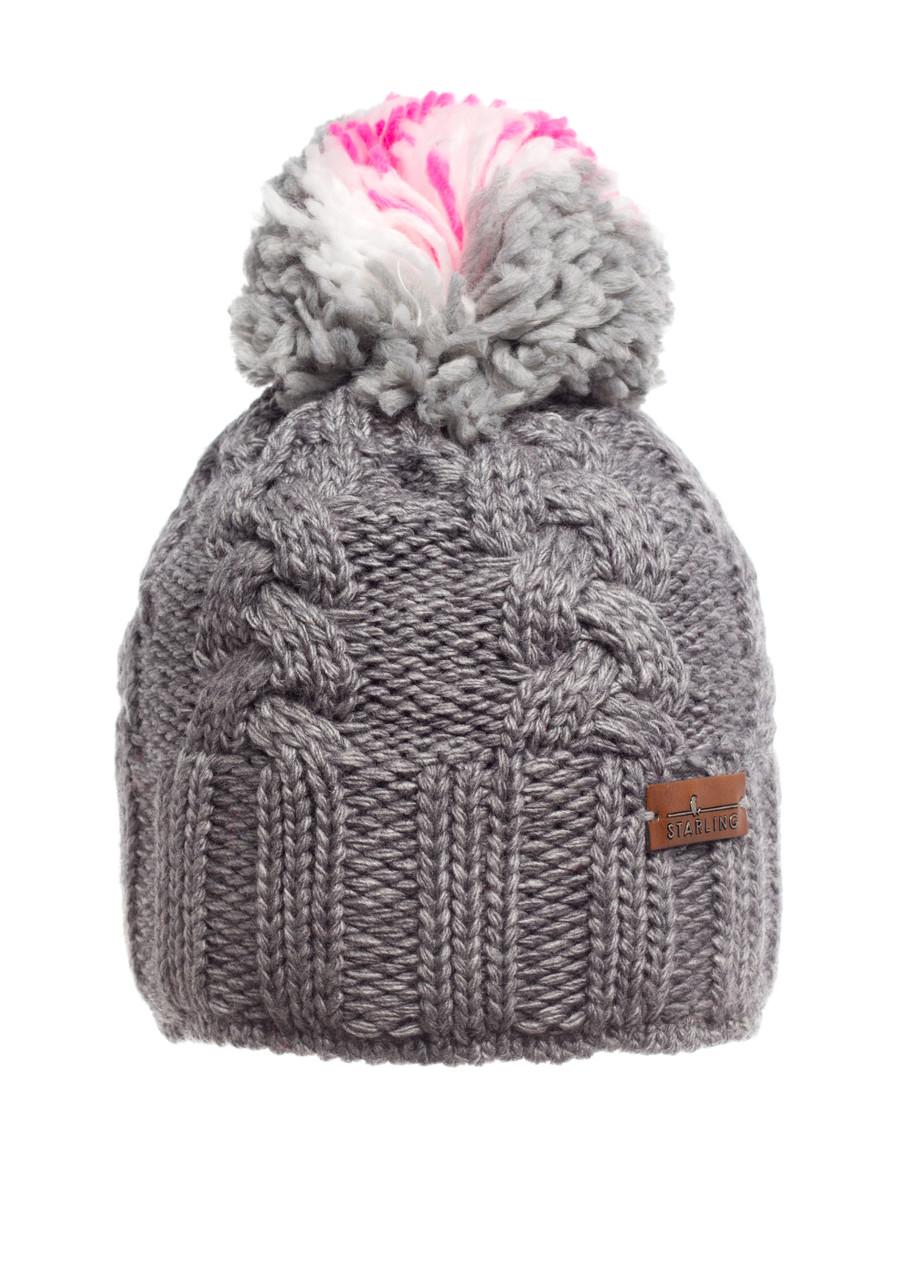 Красивая теплая вязаная женская шапка, серая.