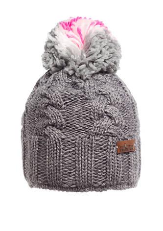 Красивая теплая вязаная женская шапка, серая., фото 2