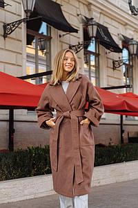 """Женское кашемировое пальто на запах """"TROF""""с поясом"""