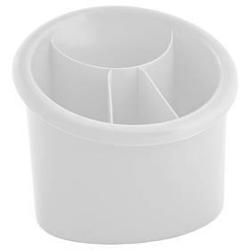 Подставка для столовых приборов пластиковая овальная Алеана БЕЛЫЙ