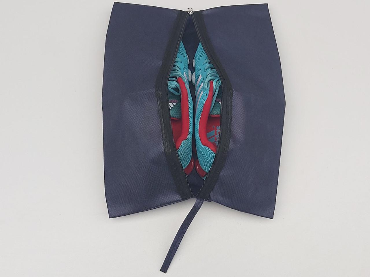 Чехол-сумка Ш 27*Д 38 см, темно-синего цвета для хранения и упаковки обуви