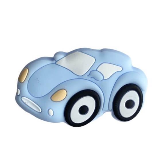 Міні Гоночна Машинка намистина (бебі блю) силіконова намистина