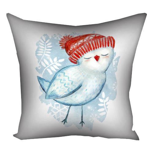 Подушка с принтом Птичка в шапке 30x30, 40x40, 50x50 (3P_17NG029)