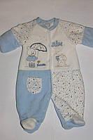 Человечек теплый велюровый на махре для новорожденного Турция голубой рост 56