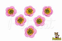 Цветы Розовые из фоамирана (латекса) 3 см 10 шт/уп