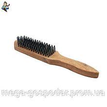 Щетка 4-ти рядная металлическая с деревянной ручкой, 280мм