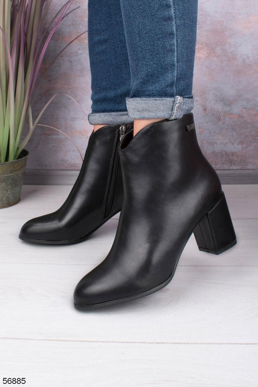 Женские осенние ДЕМИ ботильоны/ ботинки черные на каблуке 7 см эко-кожа