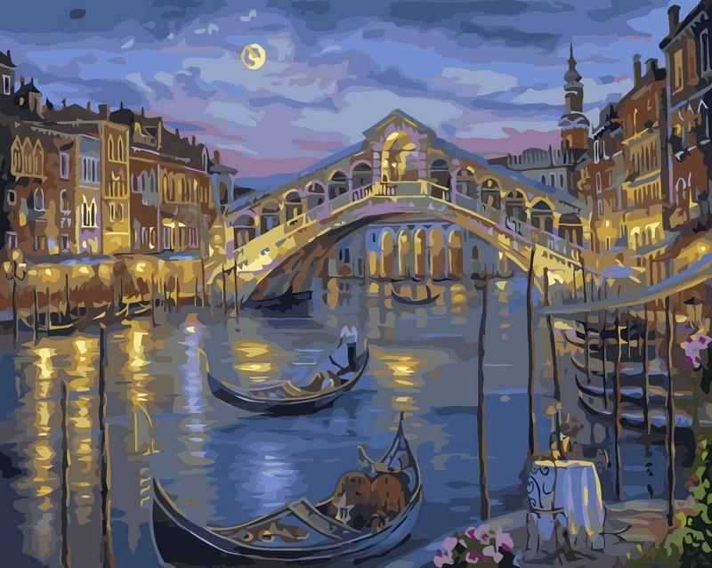 Картина по номерам 40×50 см. Babylon Прошлой ночью на Гранд-канале Венеции Художник Роберт Файнэл (VP041)